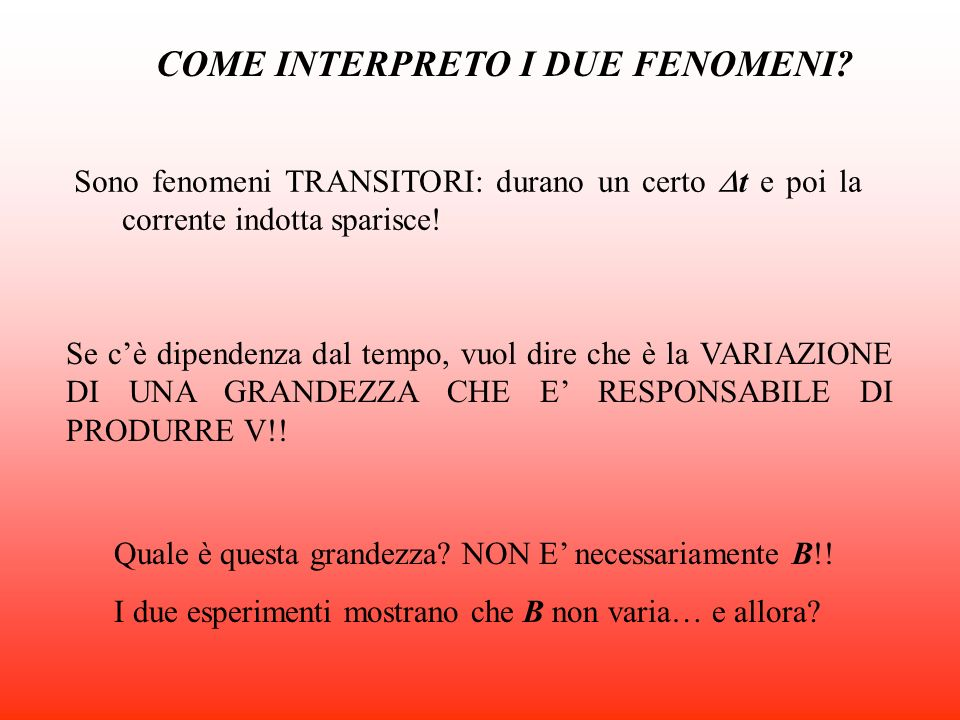 COME INTERPRETO I DUE FENOMENI