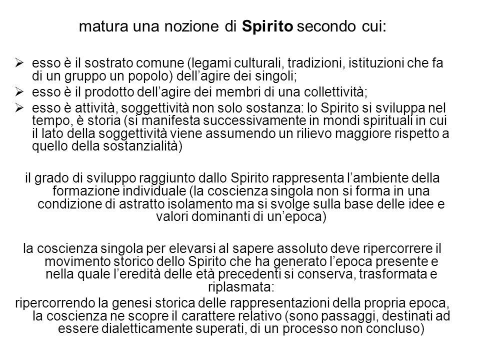 matura una nozione di Spirito secondo cui: