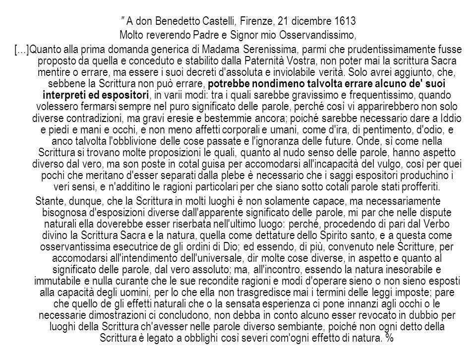 A don Benedetto Castelli, Firenze, 21 dicembre 1613