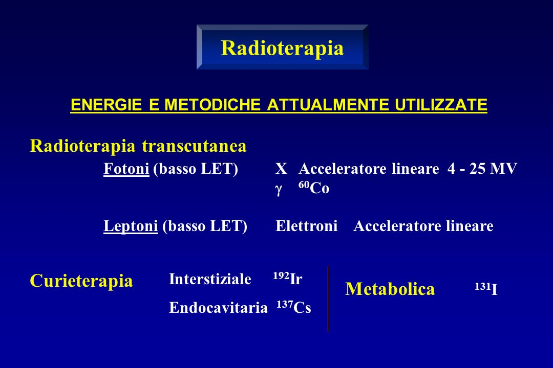 Radioterapia Radioterapia transcutanea Curieterapia Metabolica 131I