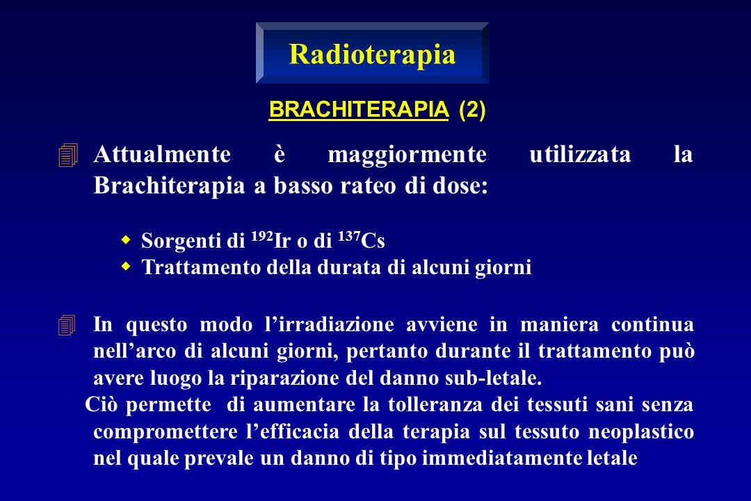 Radioterapia BRACHITERAPIA (2) Attualmente è maggiormente utilizzata la Brachiterapia a basso rateo di dose: