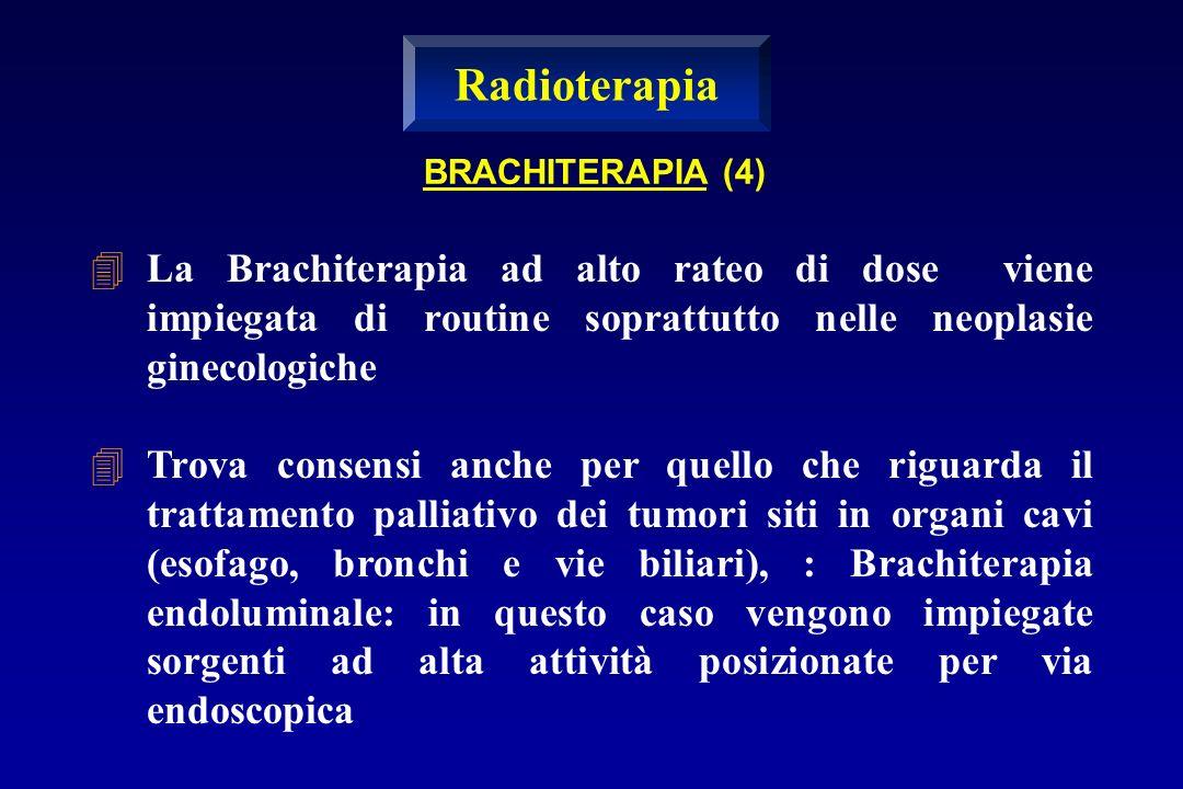 Radioterapia BRACHITERAPIA (4) La Brachiterapia ad alto rateo di dose viene impiegata di routine soprattutto nelle neoplasie ginecologiche.