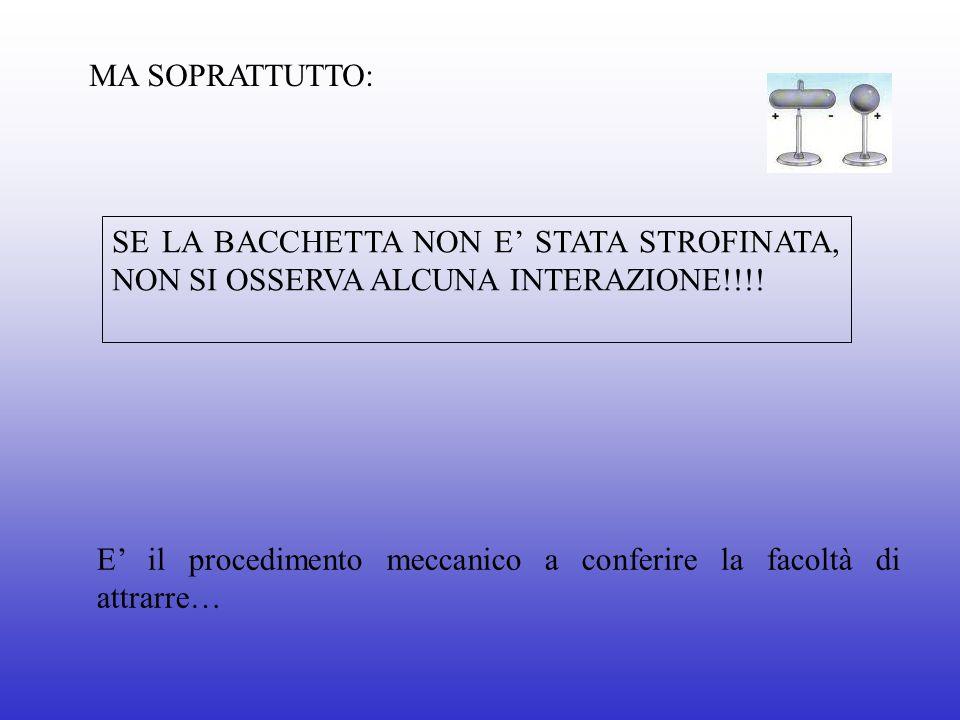 MA SOPRATTUTTO: SE LA BACCHETTA NON E' STATA STROFINATA, NON SI OSSERVA ALCUNA INTERAZIONE!!!!
