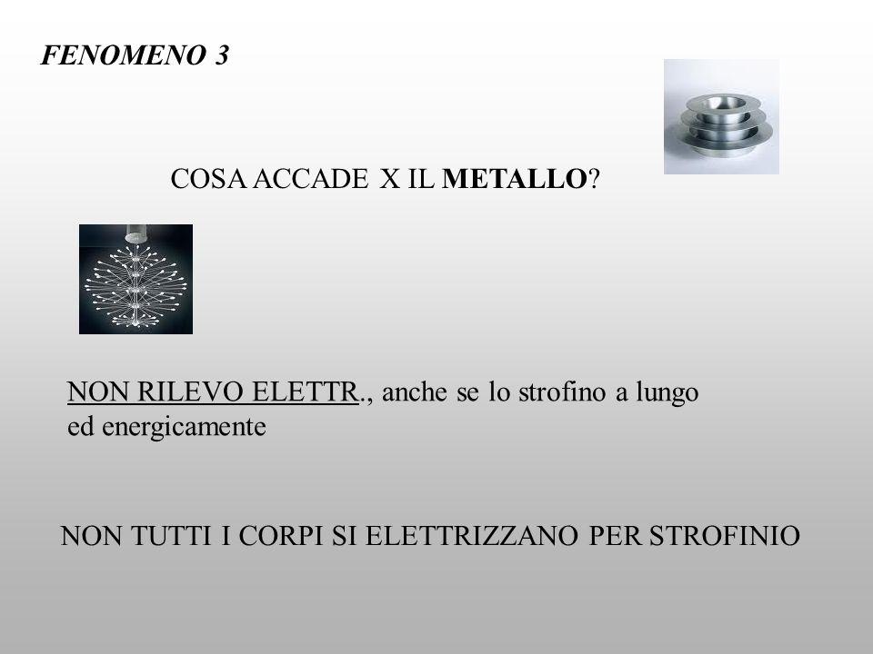 FENOMENO 3 COSA ACCADE X IL METALLO NON RILEVO ELETTR., anche se lo strofino a lungo ed energicamente.