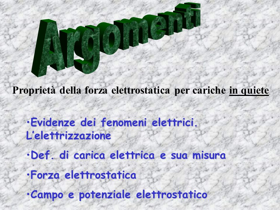 Argomenti Proprietà della forza elettrostatica per cariche in quiete