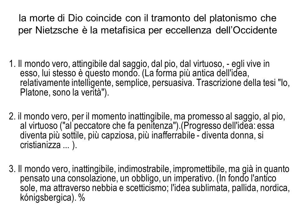 la morte di Dio coincide con il tramonto del platonismo che per Nietzsche è la metafisica per eccellenza dell'Occidente