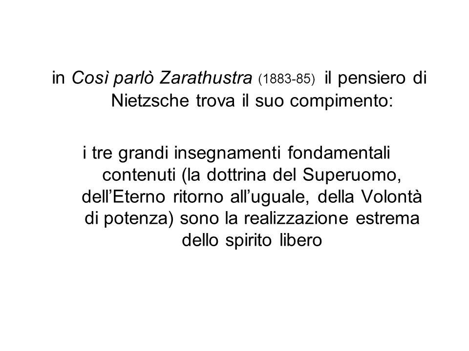 in Così parlò Zarathustra (1883-85) il pensiero di Nietzsche trova il suo compimento:
