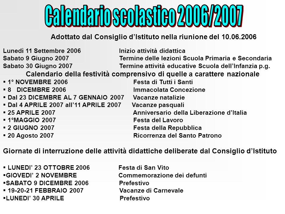 Calendario scolastico 2006/2007