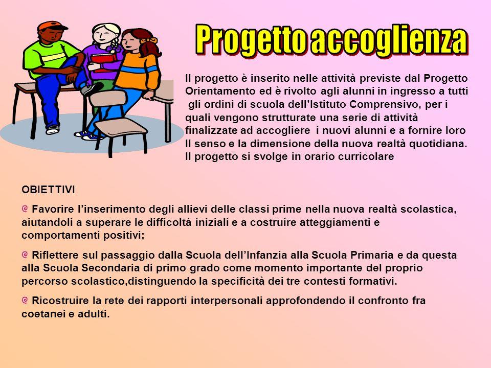 Progetto accoglienzaIl progetto è inserito nelle attività previste dal Progetto. Orientamento ed è rivolto agli alunni in ingresso a tutti.