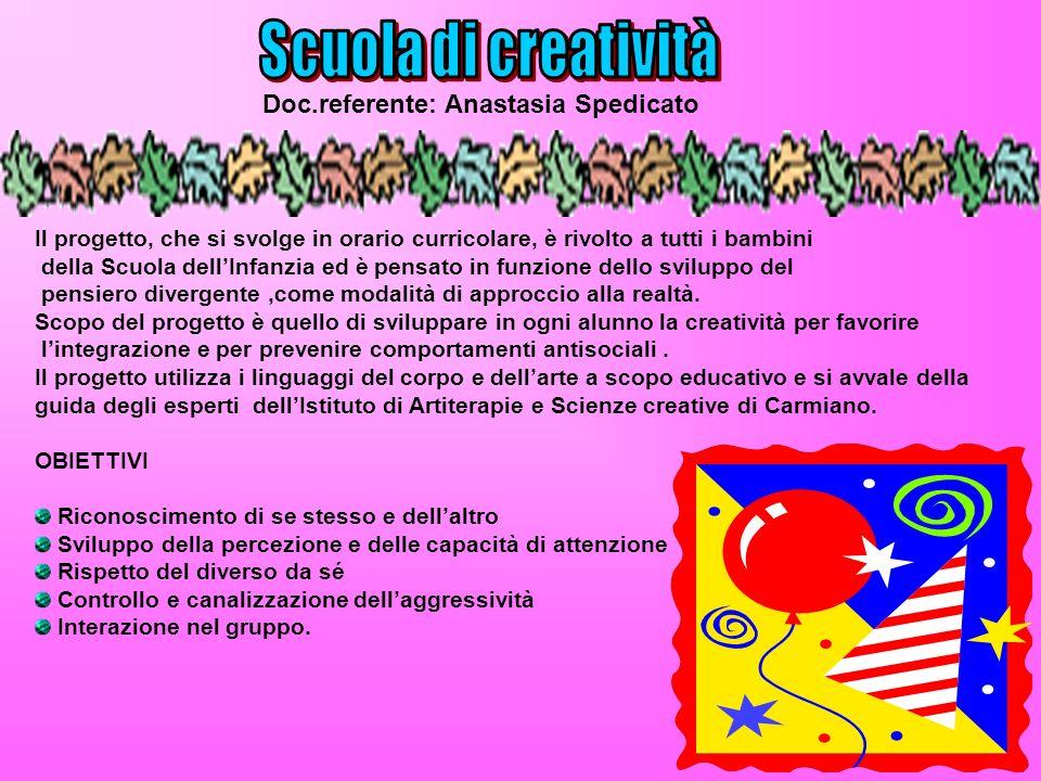 Scuola di creatività Doc.referente: Anastasia Spedicato