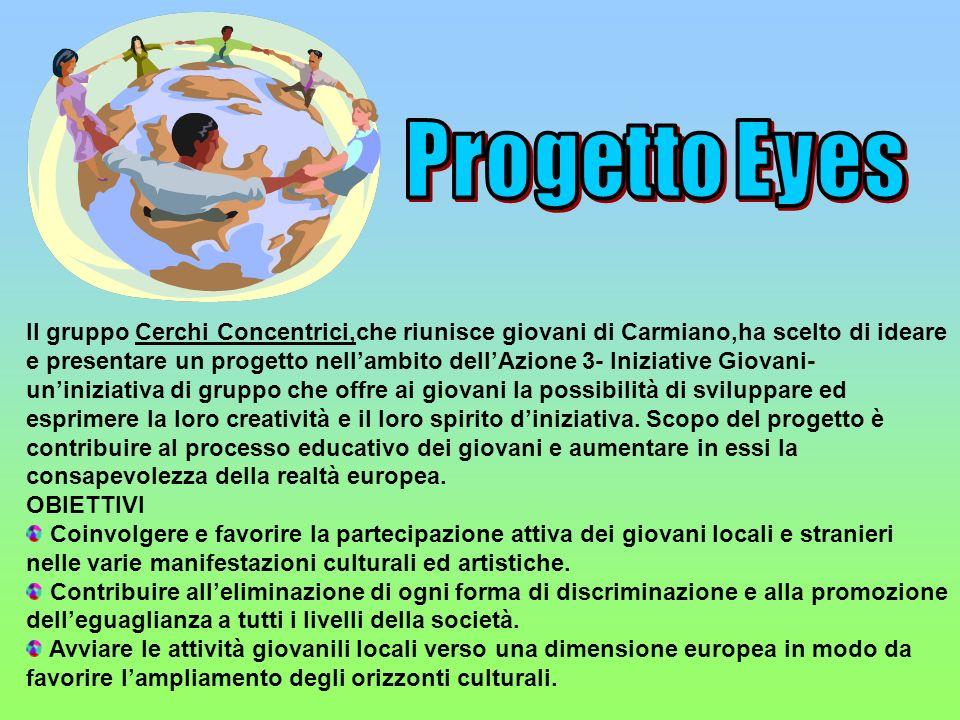Progetto EyesIl gruppo Cerchi Concentrici,che riunisce giovani di Carmiano,ha scelto di ideare.