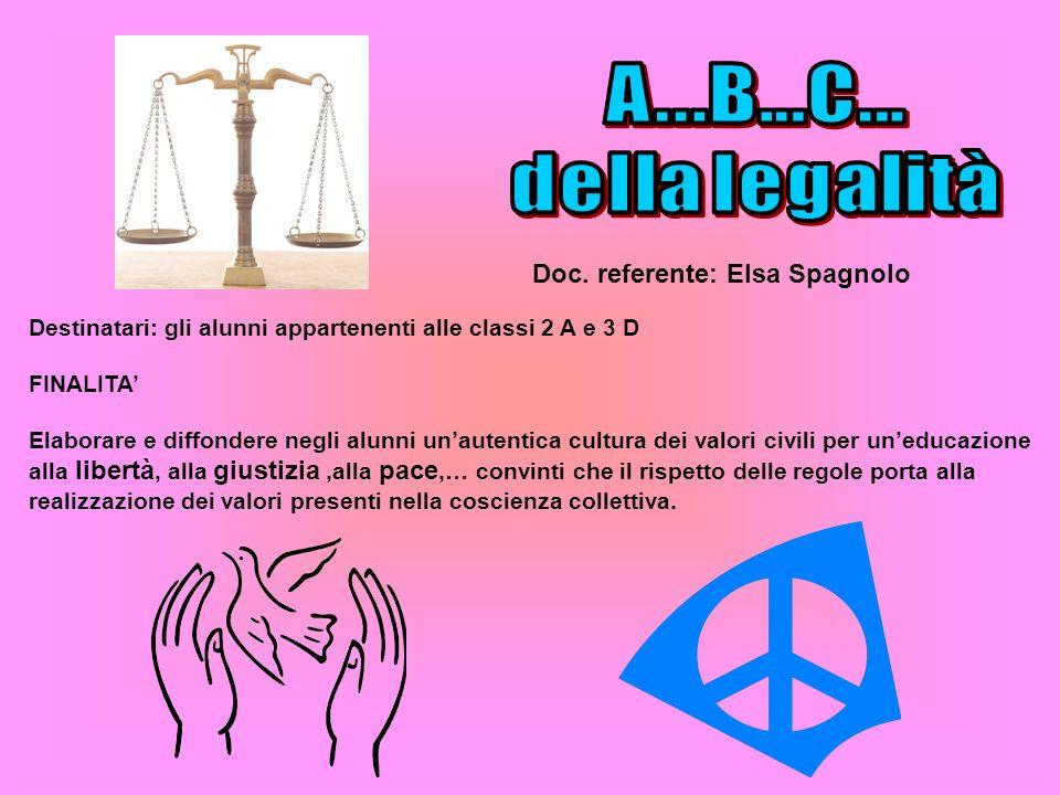 A...B...C... della legalità Doc. referente: Elsa Spagnolo