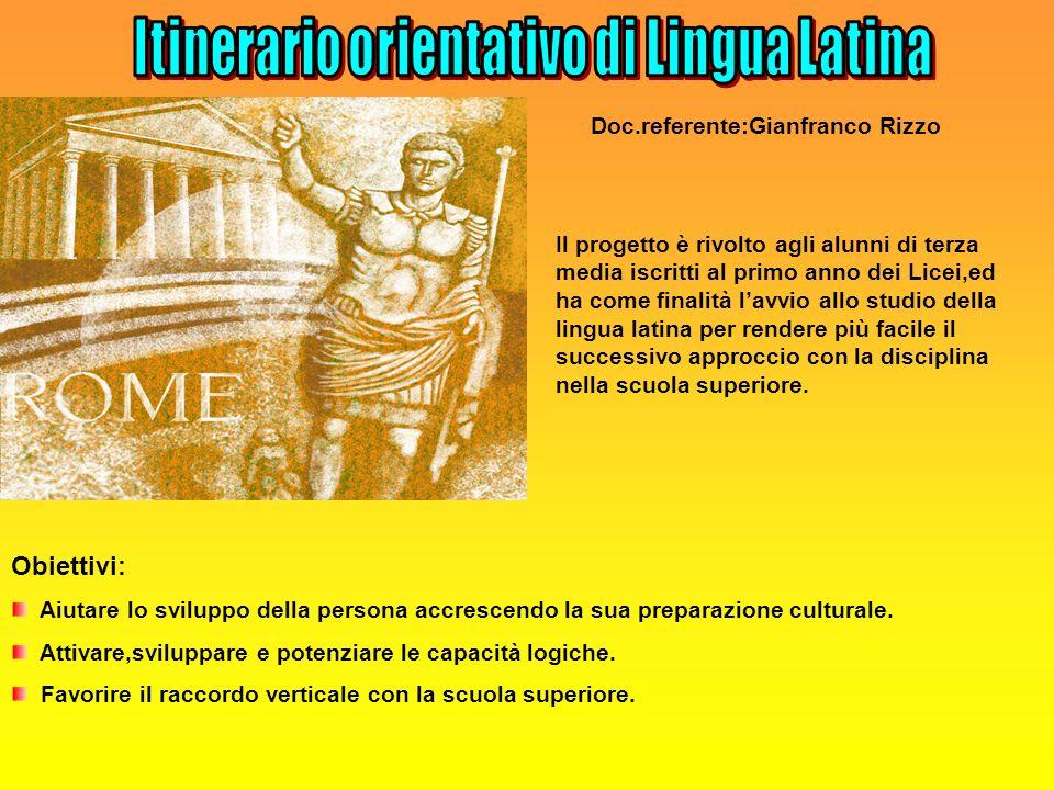 Itinerario orientativo di Lingua Latina
