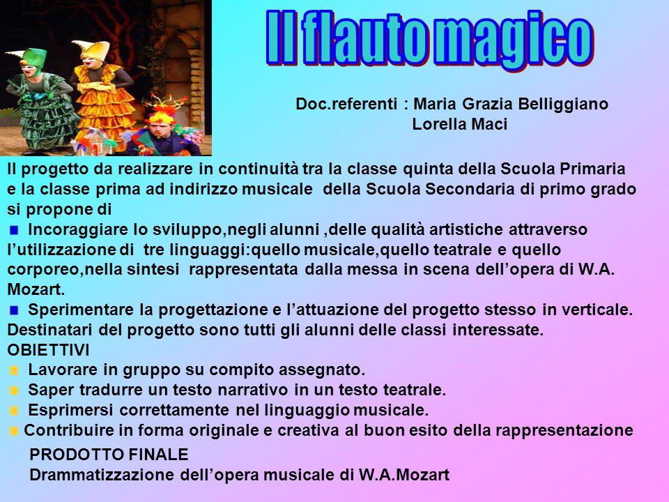 Il flauto magico Doc.referenti : Maria Grazia Belliggiano Lorella Maci