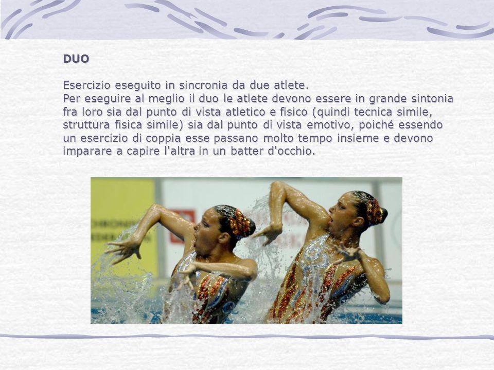 DUO Esercizio eseguito in sincronia da due atlete. Per eseguire al meglio il duo le atlete devono essere in grande sintonia.