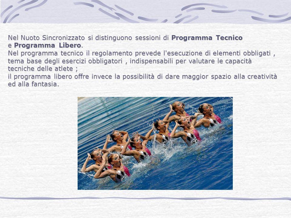 Nel Nuoto Sincronizzato si distinguono sessioni di Programma Tecnico