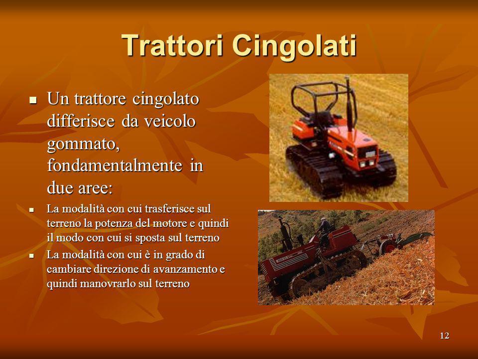 Trattori Cingolati Un trattore cingolato differisce da veicolo gommato, fondamentalmente in due aree: