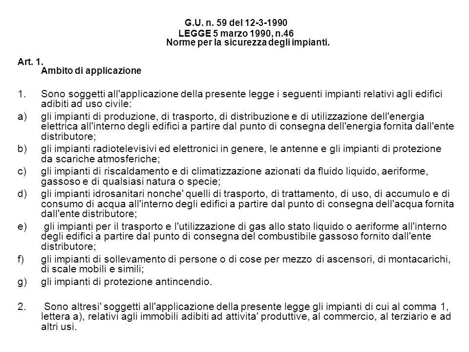 LEGGE 5 marzo 1990, n.46 Norme per la sicurezza degli impianti.