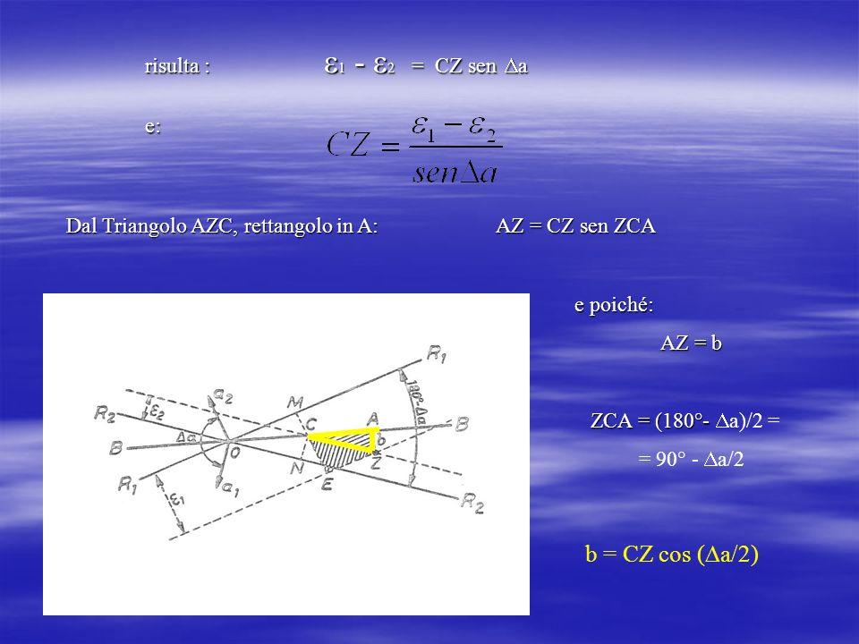 risulta : 1 - 2 = CZ sen a e: Dal Triangolo AZC, rettangolo in A: AZ = CZ sen ZCA. e poiché: