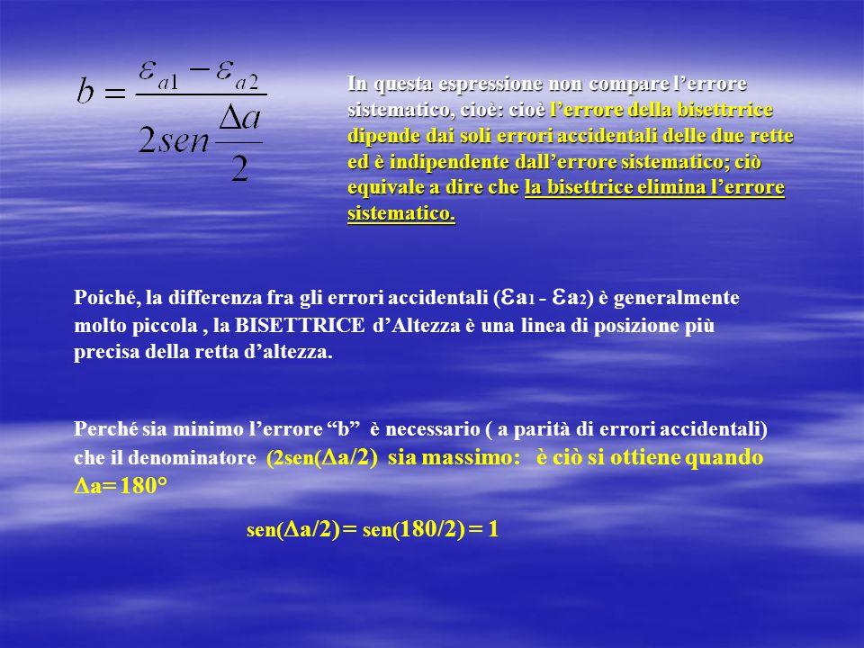 In questa espressione non compare l'errore sistematico, cioè: cioè l'errore della bisettrrice dipende dai soli errori accidentali delle due rette ed è indipendente dall'errore sistematico; ciò equivale a dire che la bisettrice elimina l'errore sistematico.