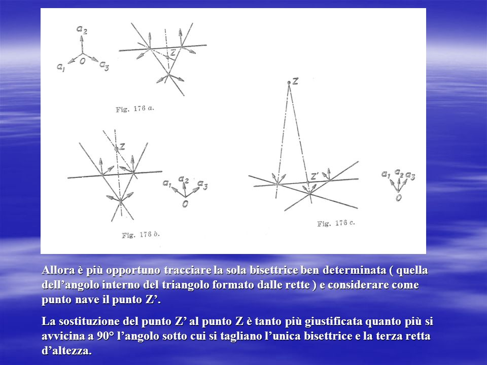 Allora è più opportuno tracciare la sola bisettrice ben determinata ( quella dell'angolo interno del triangolo formato dalle rette ) e considerare come punto nave il punto Z'.