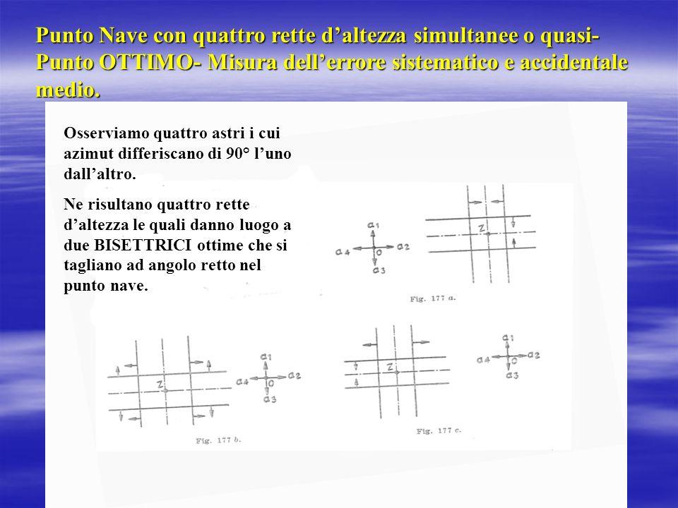 Punto Nave con quattro rette d'altezza simultanee o quasi- Punto OTTIMO- Misura dell'errore sistematico e accidentale medio.