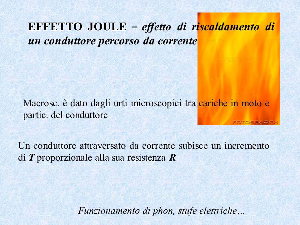 EFFETTO JOULE = effetto di riscaldamento di un conduttore percorso da corrente