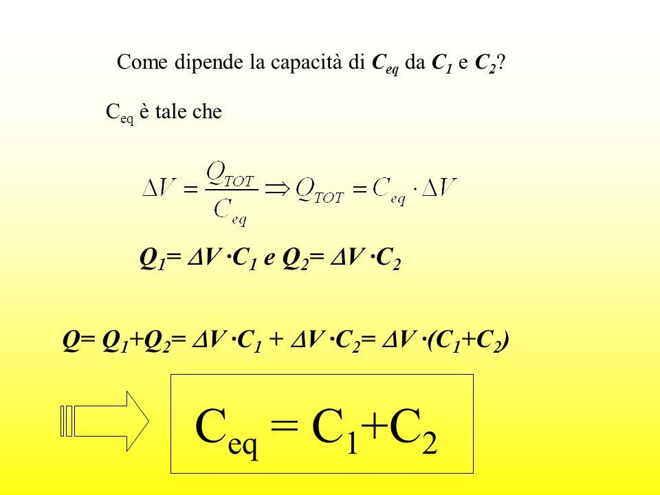 Ceq = C1+C2 Q1= V ·C1 e Q2= V ·C2