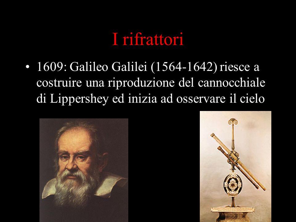 I rifrattori 1609: Galileo Galilei (1564-1642) riesce a costruire una riproduzione del cannocchiale di Lippershey ed inizia ad osservare il cielo.