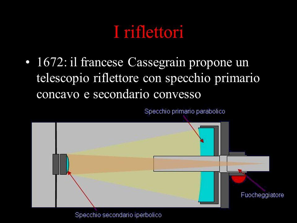 I riflettori 1672: il francese Cassegrain propone un telescopio riflettore con specchio primario concavo e secondario convesso.