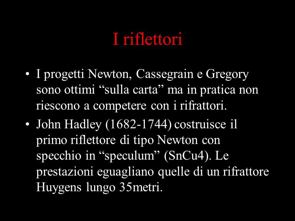 I riflettori I progetti Newton, Cassegrain e Gregory sono ottimi sulla carta ma in pratica non riescono a competere con i rifrattori.