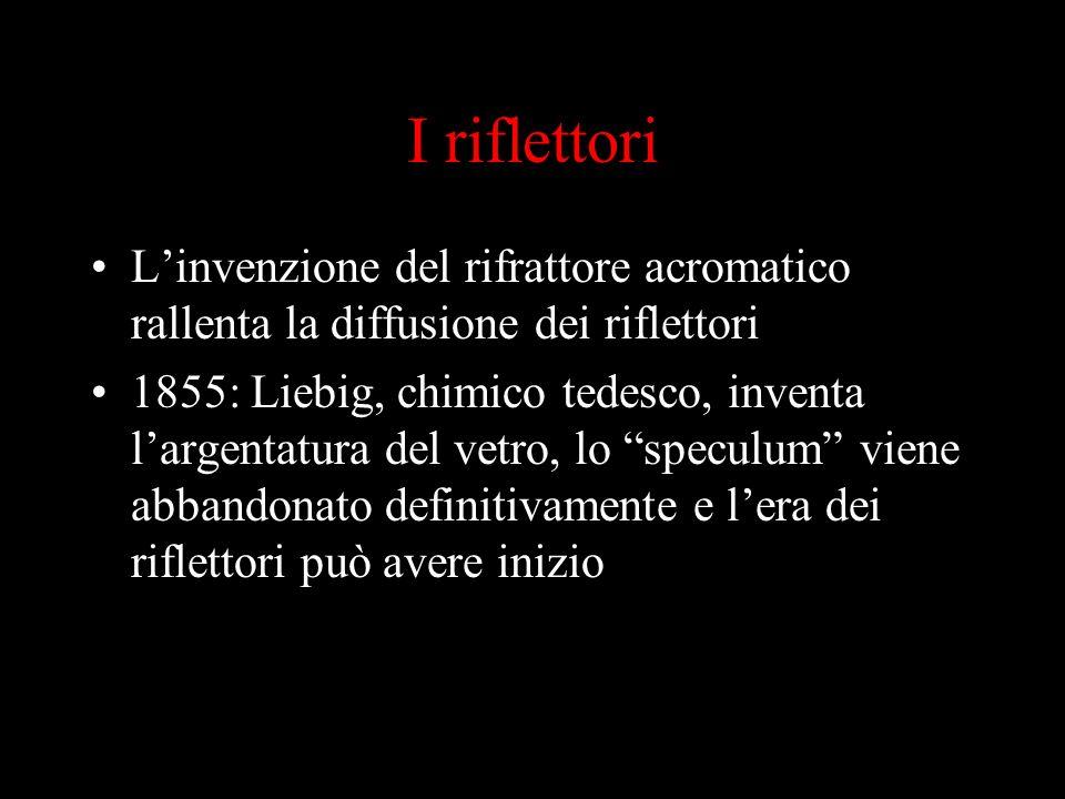 I riflettori L'invenzione del rifrattore acromatico rallenta la diffusione dei riflettori.