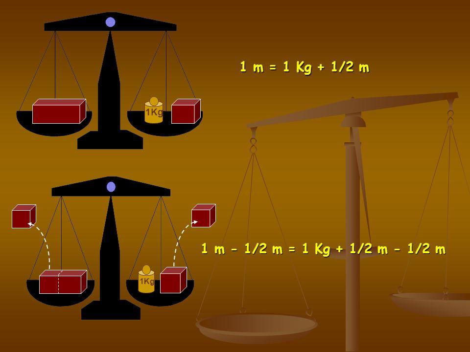 1Kg 1 m = 1 Kg + 1/2 m 1Kg 1 m - 1/2 m = 1 Kg + 1/2 m - 1/2 m