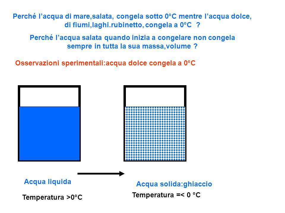 Perché l'acqua di mare,salata, congela sotto 0°C mentre l'acqua dolce, di fiumi,laghi.rubinetto, congela a 0°C