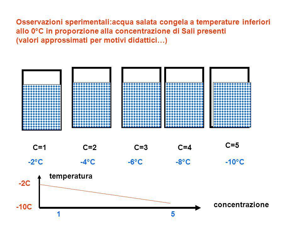Osservazioni sperimentali:acqua salata congela a temperature inferiori allo 0°C in proporzione alla concentrazione di Sali presenti (valori approssimati per motivi didattici…)