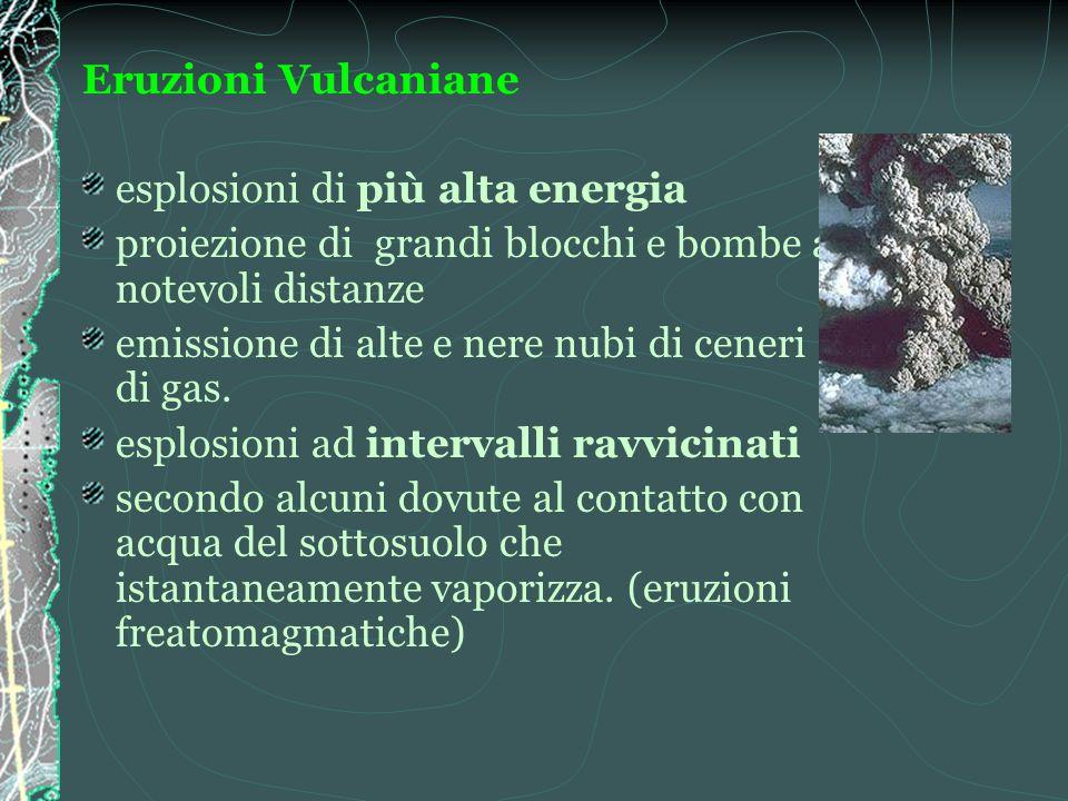 Eruzioni Vulcaniane esplosioni di più alta energia. proiezione di grandi blocchi e bombe a notevoli distanze.