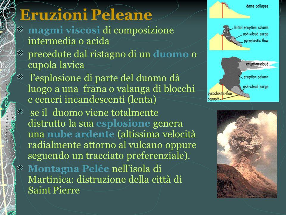 Eruzioni Peleane magmi viscosi di composizione intermedia o acida