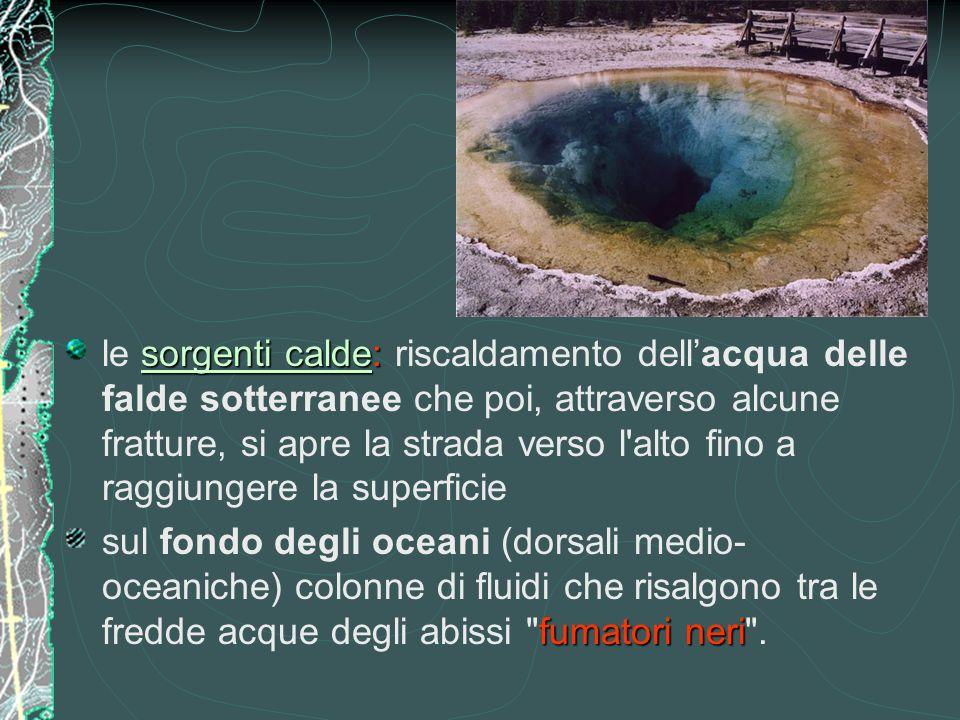 le sorgenti calde: riscaldamento dell'acqua delle falde sotterranee che poi, attraverso alcune fratture, si apre la strada verso l alto fino a raggiungere la superficie