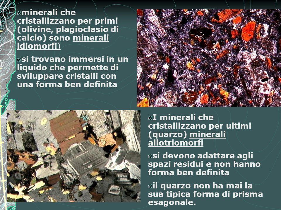 minerali che cristallizzano per primi (olivine, plagioclasio di calcio) sono minerali idiomorfi)