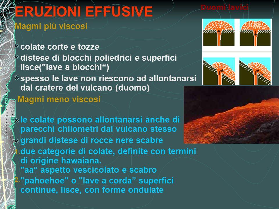 ERUZIONI EFFUSIVE Magmi più viscosi colate corte e tozze