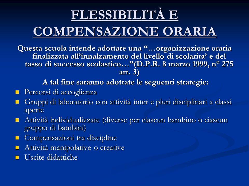 FLESSIBILITÀ E COMPENSAZIONE ORARIA