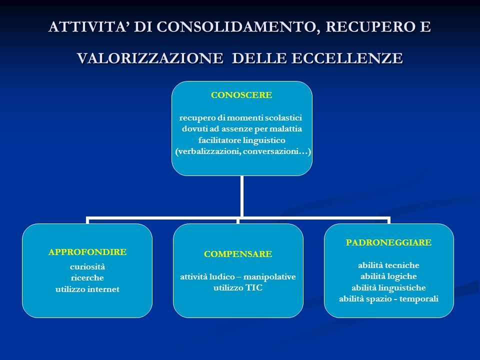 ATTIVITA' DI CONSOLIDAMENTO, RECUPERO E VALORIZZAZIONE DELLE ECCELLENZE