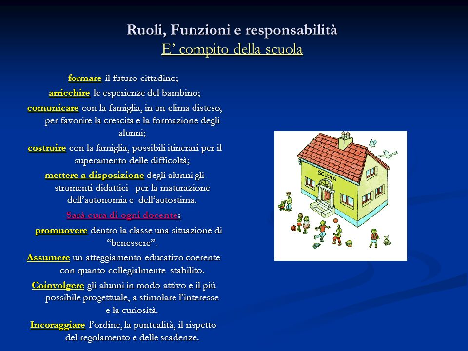Ruoli, Funzioni e responsabilità E' compito della scuola