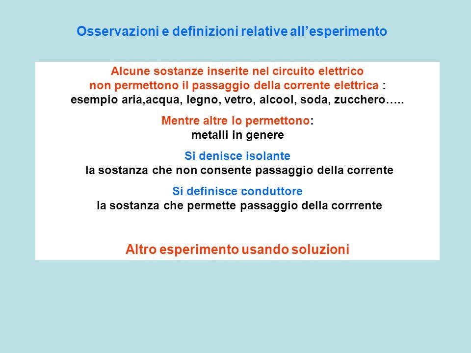 Osservazioni e definizioni relative all'esperimento