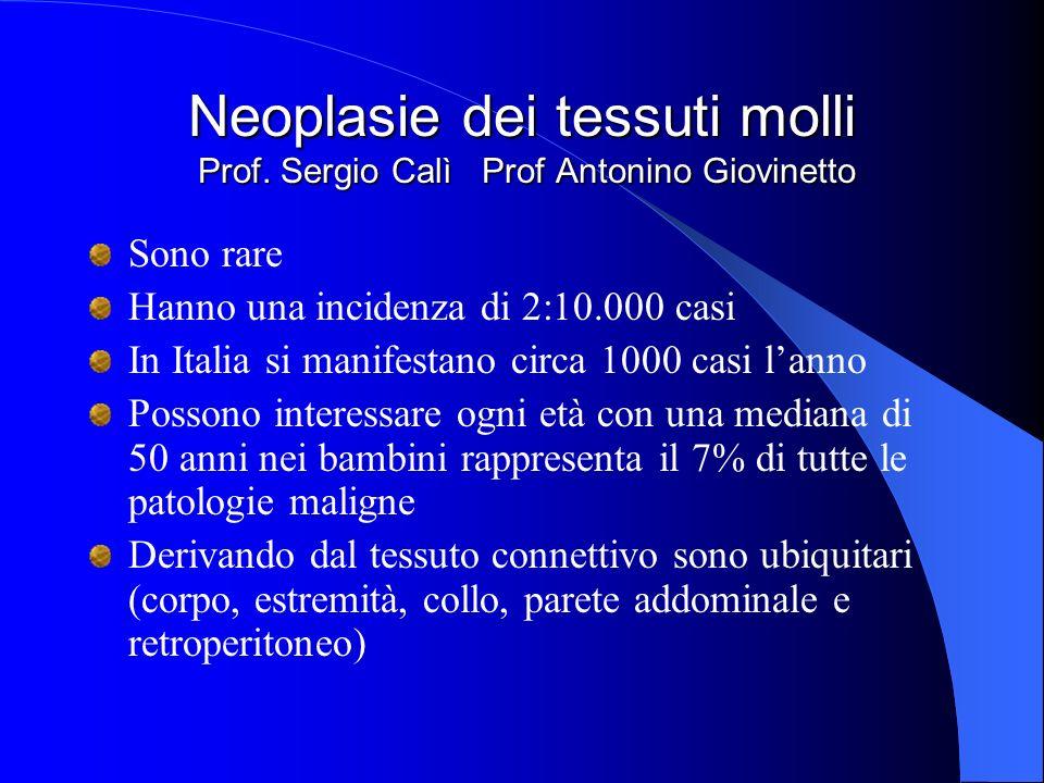 Neoplasie dei tessuti molli Prof. Sergio Calì Prof Antonino Giovinetto