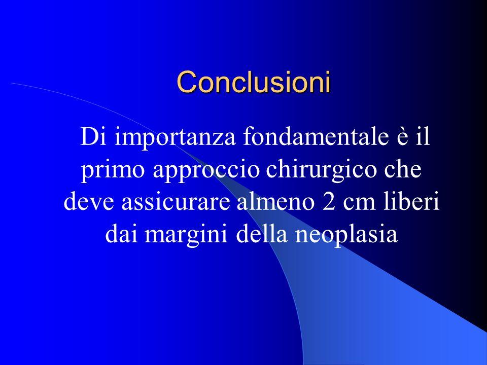 Conclusioni Di importanza fondamentale è il primo approccio chirurgico che deve assicurare almeno 2 cm liberi dai margini della neoplasia.