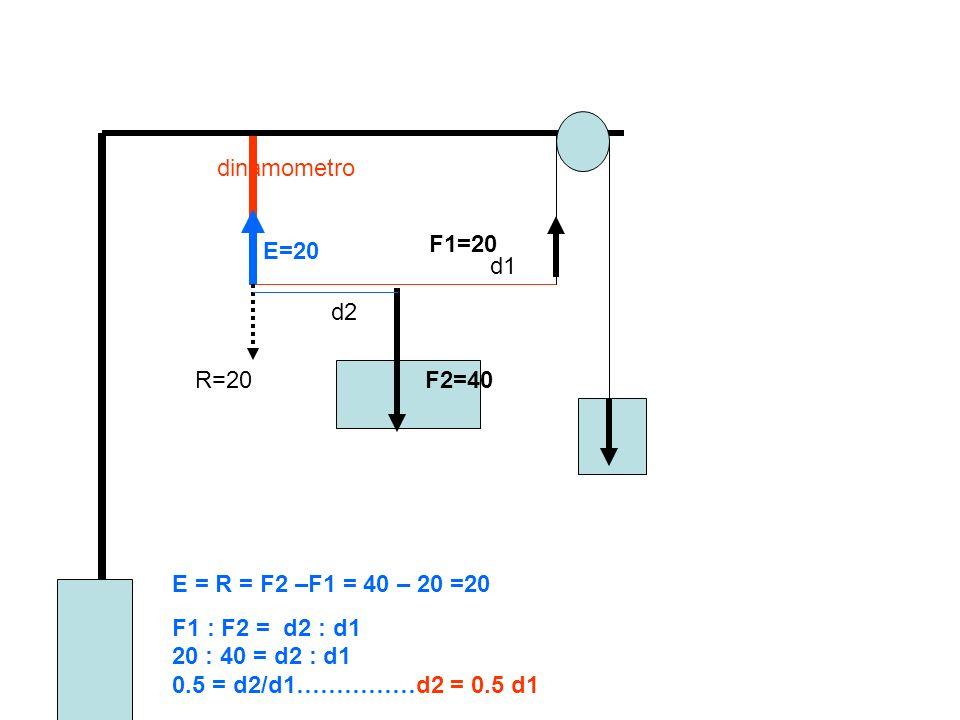 dinamometro F1=20. E=20. d1. d2. R=20. F2=40.