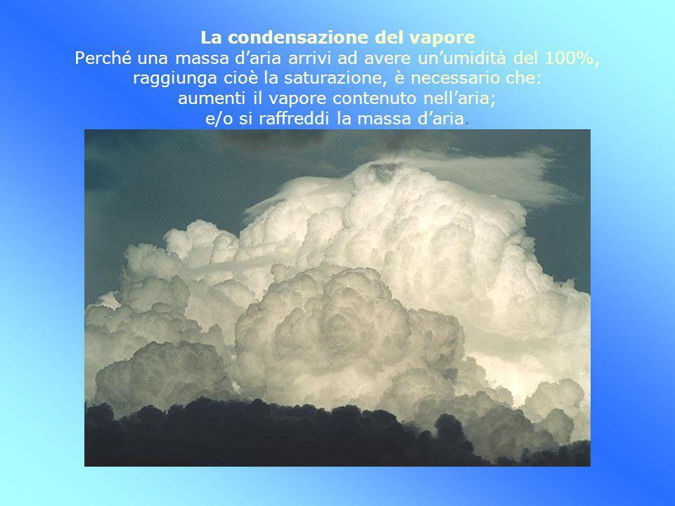 La condensazione del vapore Perché una massa d'aria arrivi ad avere un'umidità del 100%, raggiunga cioè la saturazione, è necessario che: aumenti il vapore contenuto nell'aria; e/o si raffreddi la massa d'aria.