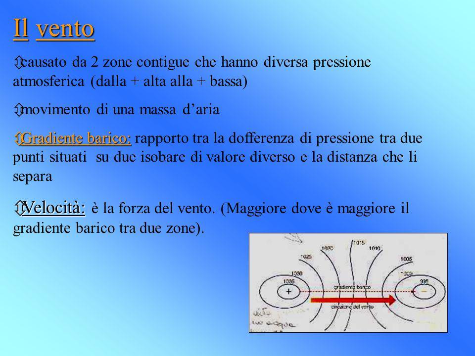 Il vento causato da 2 zone contigue che hanno diversa pressione atmosferica (dalla + alta alla + bassa)