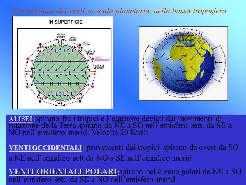 Circolazione dei venti su scala planetaria, nella bassa troposfera